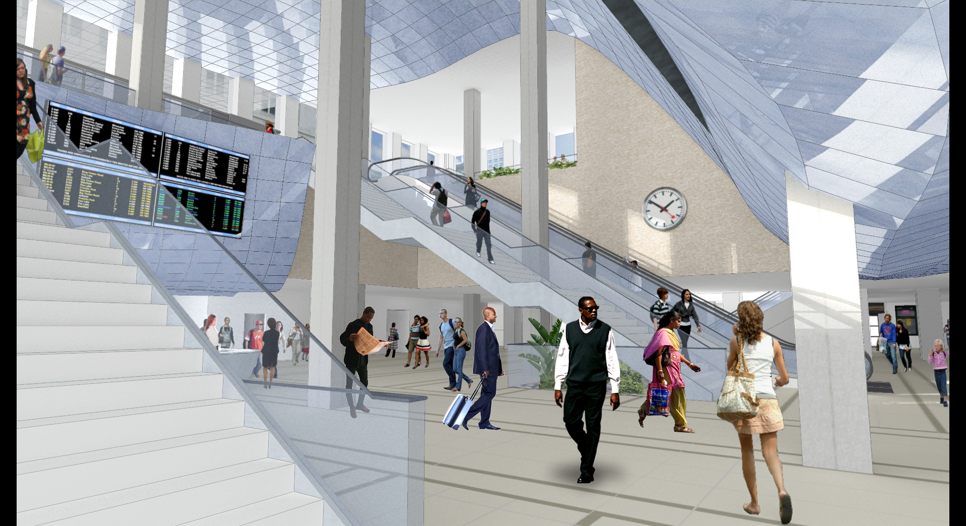 Rendering of proposed lower lobby. Image courtesy of CDOT.